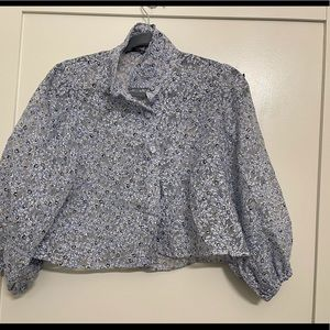 Zara floral bell puff sleeve organza blouse S